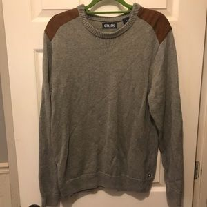 Chaps Men's Crewneck Sweater with Elbow Patches